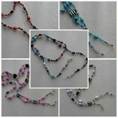 """Beautiful Beaded Glasses Spectacles Holder Chain Cord Healing Magnetic 36"""" Long"""