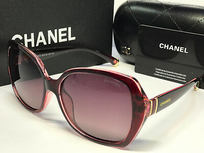 Sunglasses Polarized Embellished¹Chanel¹Oversized Round Purple/Gray Lens