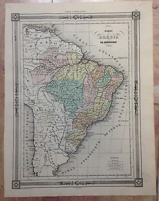 EMPIRE OF BRAZIL 1852 BY TH. DUVOTENAY DETAILED ANTIQUE ENGRAVED MAP 19e CENTURY