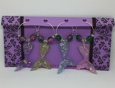 Wine Glass Charms - 4 Mermaid Tail charms with multicolour glass beads