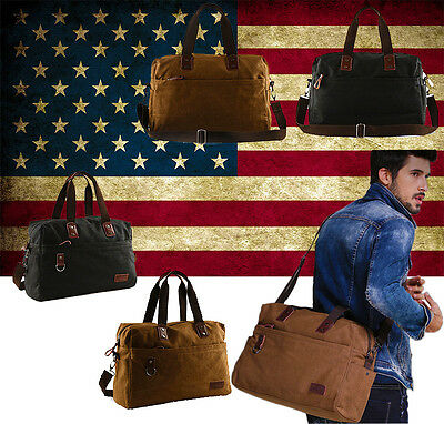 Large Men's Vintage Canvas Handbag Messenger Bag Travel Weekender Overnight Bags