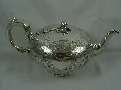 PRETTY , VICTORIAN silver TEA POT, 1849, 656gm