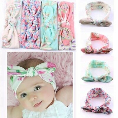 4PCS Girls Kids Baby Toddler Turban Knot Rabbit Headband Bow Hairband HeadBands