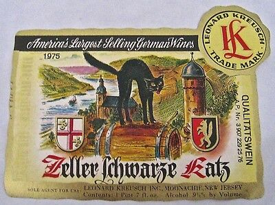 Vintage Wine Label 1975  Zeller Schwarze Katz German Cat