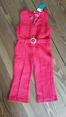 overall real true vintage rot jumpsuit 60er 70er 92 98 kinder Anzug schlag jumps