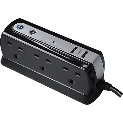 Masterplug 6 Socket Surge Protected Extension Lead & USB Chargers Black 1M Cable