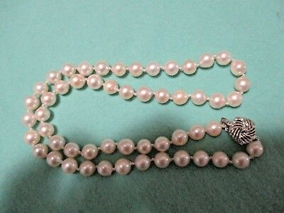 Vintage pearl necklace 7.5mm cultured pearls 20inches approx.