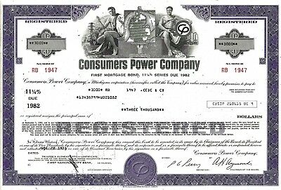 Consumers Power Company, 1975, 11 1/4% First Mortgage Bond due 1982 (3.000 $)