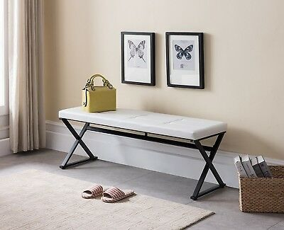 Peachy White Entryway Bench Entry Seat Hall Bedroom Black Metal Caraccident5 Cool Chair Designs And Ideas Caraccident5Info