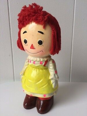 VINTAGE Raggedy Ann with RED YARN HAIR JAPAN Ceramic Piggy Bank