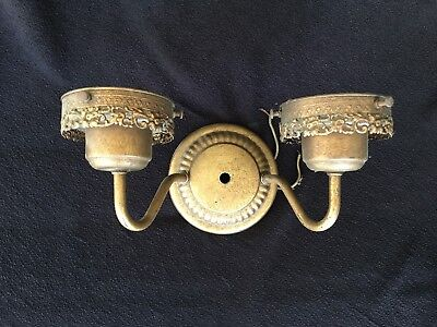 Vintage Double Candle METAL Wall Sconce Early Electric Lighting Fixture ORNATE