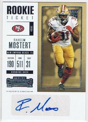 2017 Contenders - Rookie Ticket Auto #297 Raheem Mostert - San Francisco 49ers