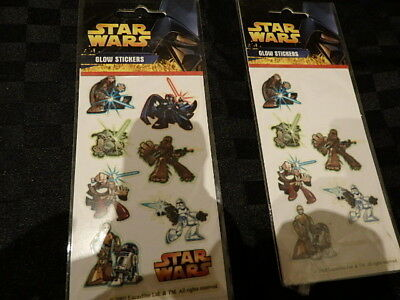 2 Packets Lucas Film Star Wars 2005  Glow In Dark The Stickers Transfers Decals