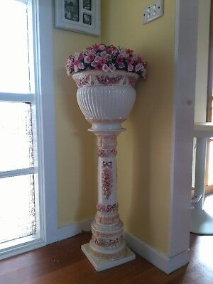 Vintage jardiniere ceramic stand with pot( including flowers)
