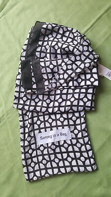 BNWT Batik SARONG IN A BAG  wrap around White /black