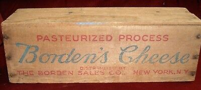 Vintage Wood Borden's 5Lb. Cheese Box, Crate, New York