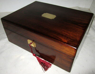 LOVELY EARLY VICTORIAN ROSEWOOD & BRASS BOX with key