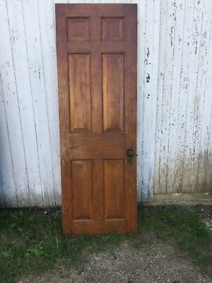 "Vintage Solid Wood 6 Panel Door 27 1/2""w x 81 5/8""h x 1 3/8""d Architectural Salv"