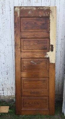 "Vintage Solid Wood Door 29 7/8""w x 79""h x 1 3/8""d Architectural Salvage"