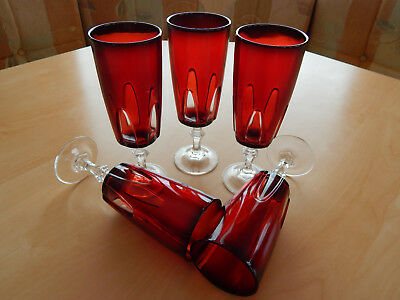 5 Ruby Red Cut to Clear Gothic Arch Wine Champagne Glasses Cristal de arques.