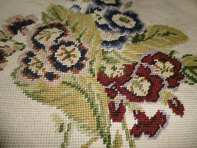 Vintage needlepoint tapestry cushion cover flowers very good condition