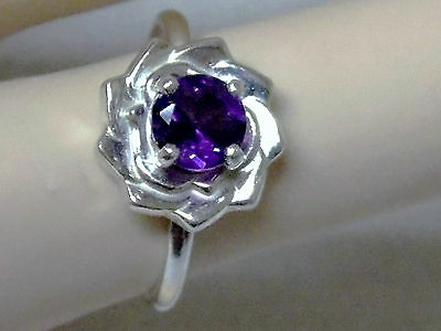 NATURAL  1ct  purple amethyst 925 sterling silver flower ring size 7 USA