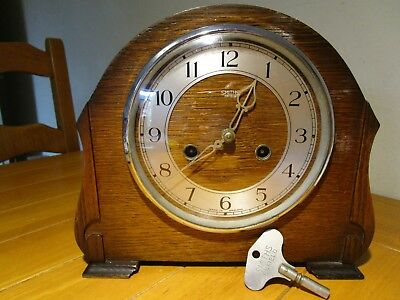 Vintage Smiths Enfield Chiming Mantel Clock With Original Key.