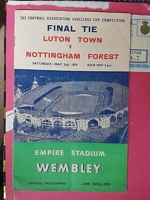 1959 FA Cup Final Programme - Luton Town v Nottingham  Forest No Writing