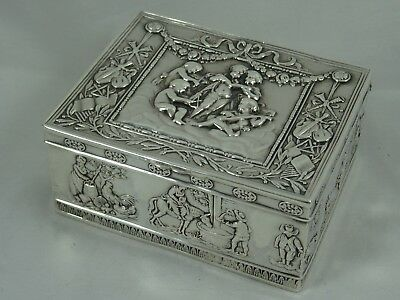LARGE solid silver TRINKET BOX, 1910, 118gm
