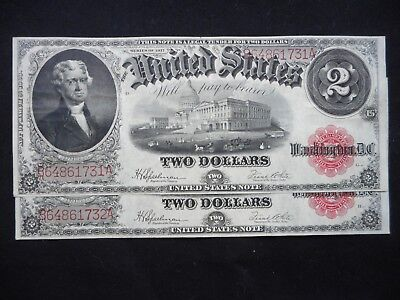 2 -- $2 Series 1917 Notes -- Crisp with consecutive numbers