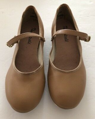 Theatricals Big Girls Mary Jane Tap Dance Nude Tan Shoes Size 4.5