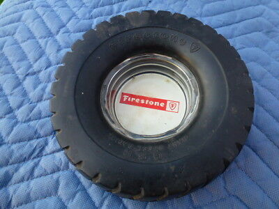 Vintage Firestone Tire Ashtray with Glass Insert 1960's