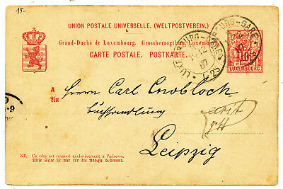 """Luxembourg Postal Card # P 48 Variety """"luxembourg-Gare"""" To Germany (1887)"""