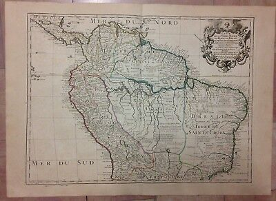 SOUTH AMERICA COLOMBIA BRAZIL PERU 1782 by DE L'ISLE LARGE ANTIQUE ENGRAVED MAP