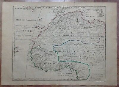 WEST AFRICA DATED 1781 by G. DE L'ISLE LARGE ANTIQUE ENGRAVED MAP XVIIIe CENTURY