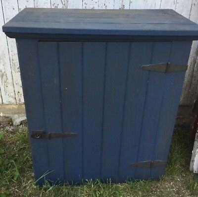 """Antique Barnwood Cabinet Handmade with Two Shelves 30""""h x 26""""w x 13.5""""d Blue"""
