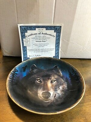 """Midnight Magic"" Decorative Wolf Plate 8"" with Authentication Certificate"