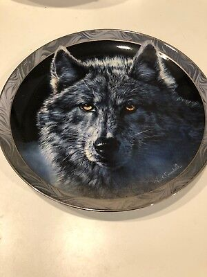 """Moon Shadows"" Decorative Wolf Plate 8"" from the Bradford Exchange"