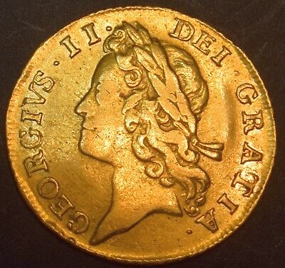 1734 George Ii Gold Full Guinea (Sovereign) -Rarely Offered-Nice Coin -See Photo