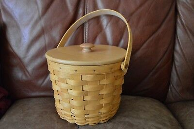 Longaberger 2000 Basket with Swing Handle, Lid & Liner, classic stain, used