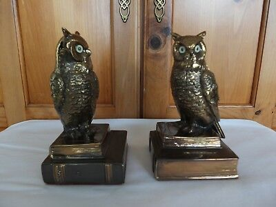 Antique Vintage Bronze or Brass Owls On Books Bookends - PM Craftsmen Excellent