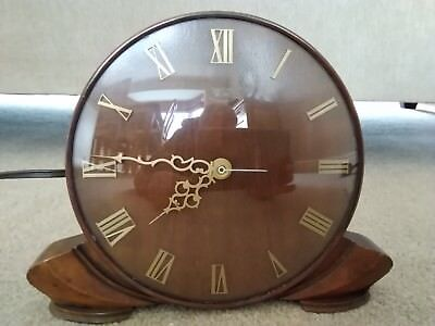 Smiths Sectric Electric Wooden Round Faced Clock Mantelpiece 1940s 1950s