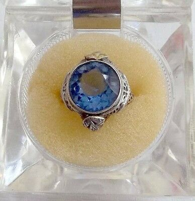 Vtg Sterling Silver Ladies Ring Art Deco 1920's Blue Paste Glass Stone Size 4-5