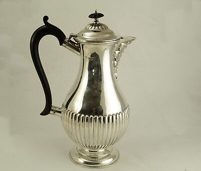 Fine Antique Fluted Silver Coffee Pot Sheffield 1920 507g