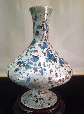 "Vintage hand made Ceramic Pottery Blue Gray Speckled Urn Vase Style 10"" x 7"""