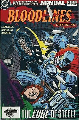 1993 Superman : Man Of Steel Bloodlines Outbreak  Annual #2   Dc Comics Vf/nm
