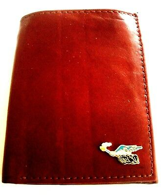 Plymouth Roadrunner Brown Cowhide Italian Leather Trifold Wallet