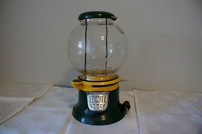 Antique Green Yellow Columbus Model M Gumball Machine 1 Cent