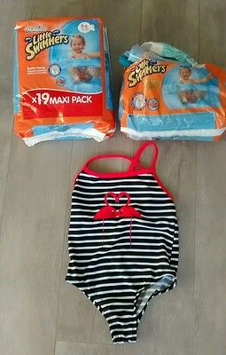 maillot de bain fille 3 ans et lot couches de piscine