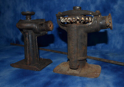 Antique Elite Cast Iron Screw Jack Ashland Oh and an unmarked jack